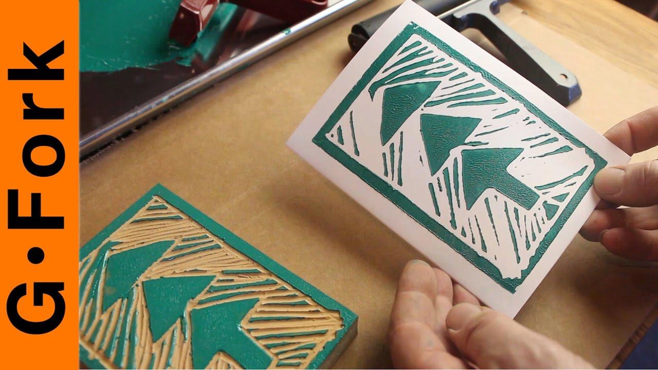 Diy Greeting Cards Lino Block Printing Gardenfork Youtube