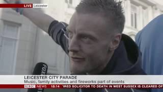 Jamie Vardy breaks off mid-interview to cheer on Leicester FC fans