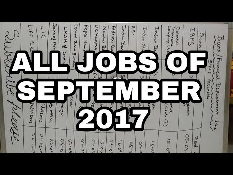 Govt job vacancies of September month in one YouTube video sept. 2017