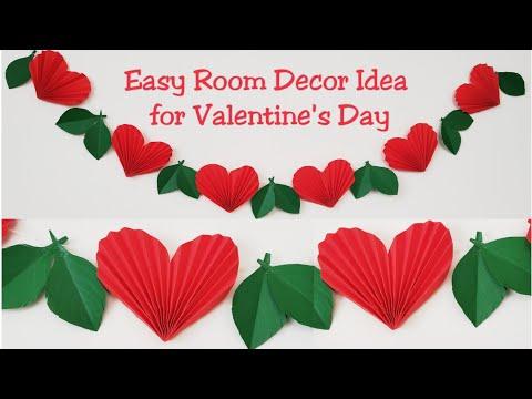 DIY Valentine's Day Room Decor/DIY Paper Heart Garland/Easy Valentine's Day Room Decoration Craft