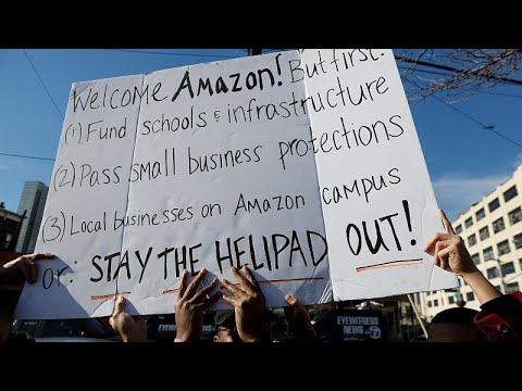 محتجون في نيويورك ضد حوافز مقدمة لـ-أمازون- بمليارات الدولارات …  - 19:53-2018 / 11 / 15