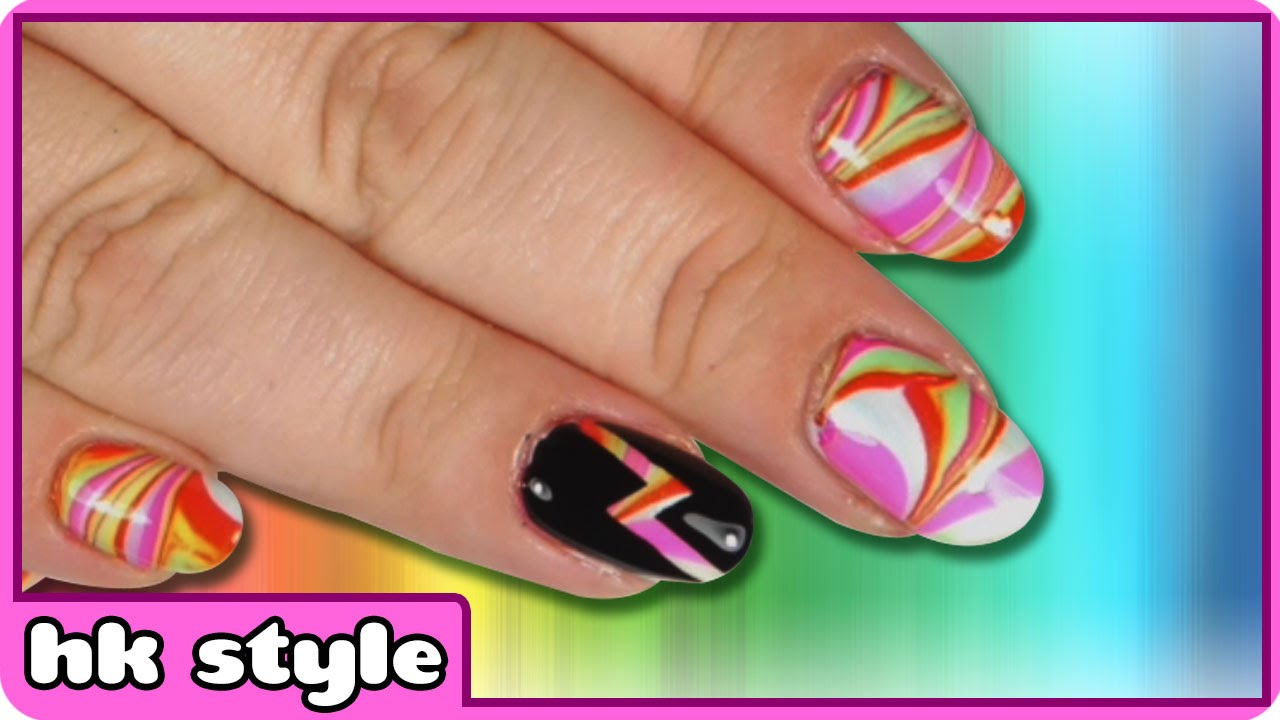 Rainbow water marble nails water marble nail art nail art rainbow water marble nails water marble nail art nail art designs by hooplakidz style prinsesfo Image collections