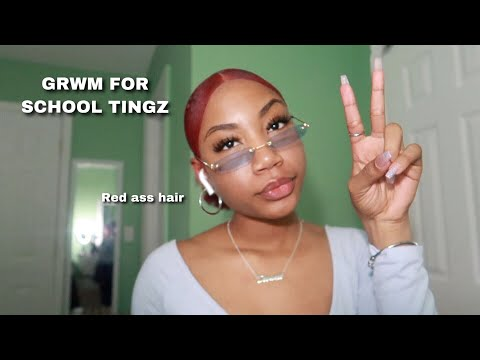 GRWM// Going to School with RED HAIR !
