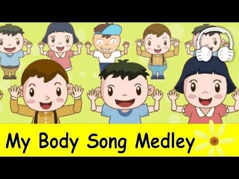 My Body Song Medley (Head and shoulders, knees and toes) | Nursery Rhymes Collection - Muffin Songs