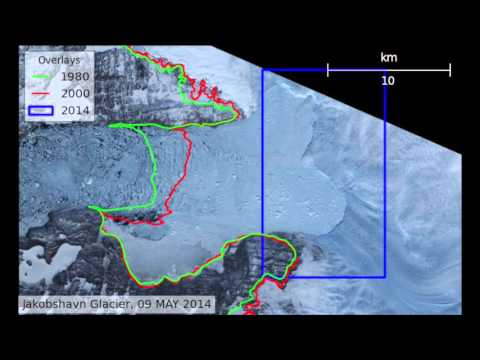 Jakobshavn Glacier retreat between 2000 and 2015, animation from PolarPortal.dk