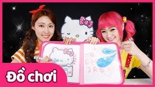 Vẽ tranh với tập tô màu bằng nước Hello Kitty | Đồ chơi