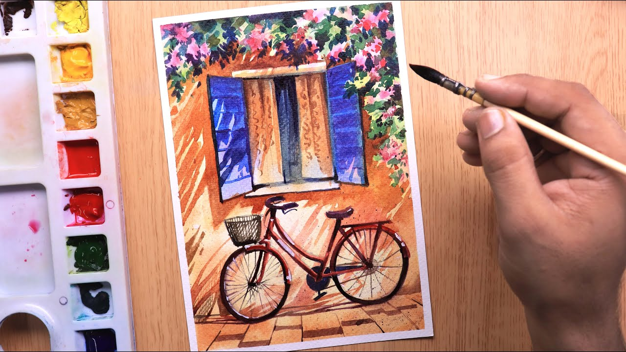Watercolor painting beautiful flower tree and simple window