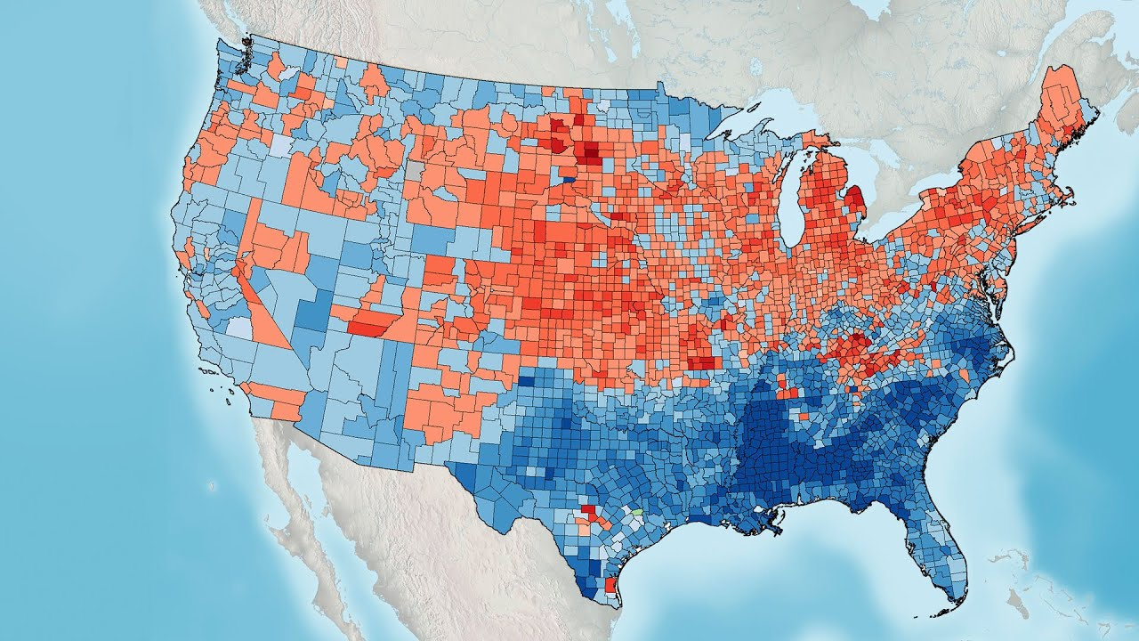 US Presidential Election Results YouTube - Us map of voting results by county