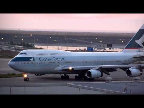 Cathay Pacific Airways Boeing 747-400 (B-HOW) taxiing & takeoff from KIX/RJBB (Osaka Kansai) RWY 24L