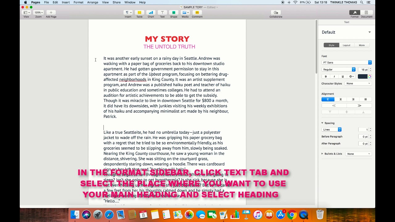 HOW TO CREATE A HEADING IN PAGES APP (MAC)