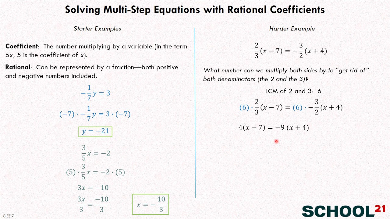hight resolution of Solve Equations - Grade 8 (examples