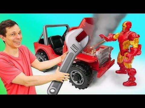 Игры для мальчиков - У Железного Человека сломался джип! - Видео с машинами в Автомастерской.