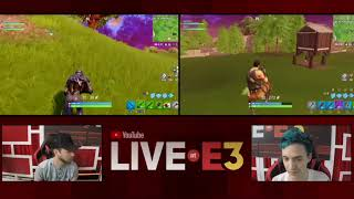 Ninja and Ali-A Play Fortnite Live in the YouTube Live at E3 2018 Studio