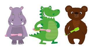 ЗУБКИ - Развивающая детская песня мультфильм про зубную щетку пасту и животных