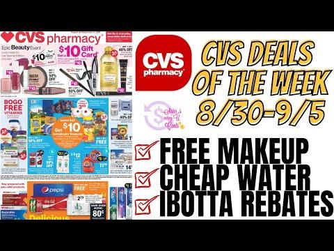 CVS Deals Of The WEEK 8/30-9/5   FREE Makeup, Cheap Water, & Ibotta Rebates #cvsdeals