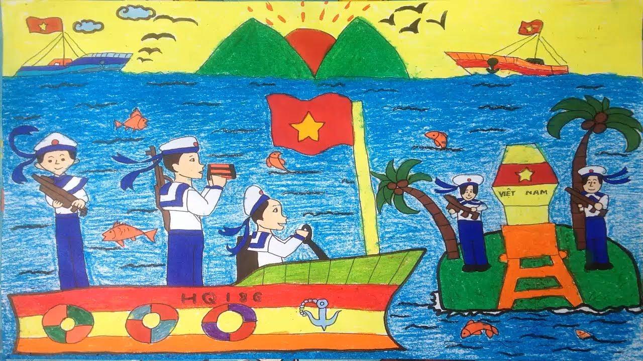 Vẽ tranh biển đảo –  vẽ chú bộ đội hải quân –   Painting the island sea   drawing the navy soldier