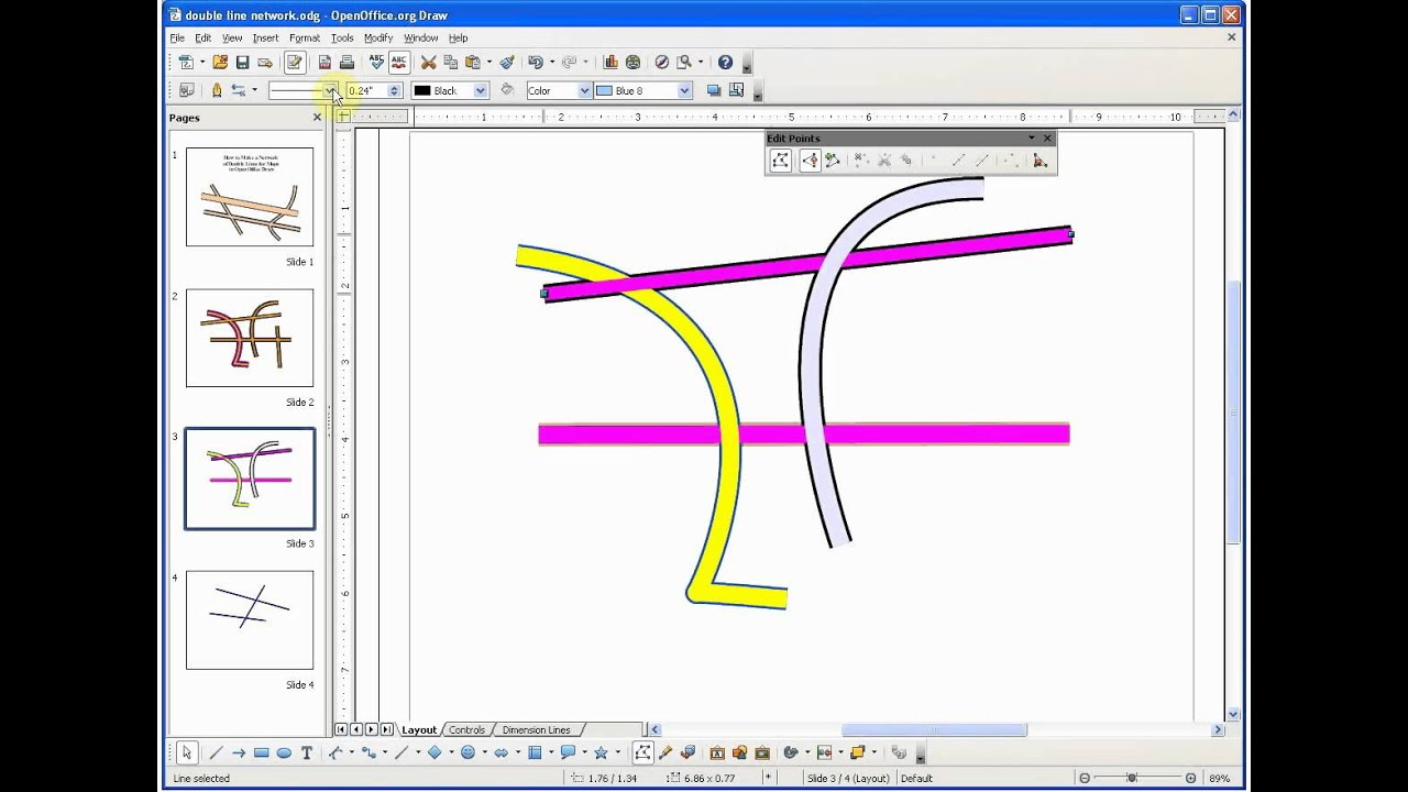 Open Office Drawing Lines : T openoffice draw tutorial how to make a network of