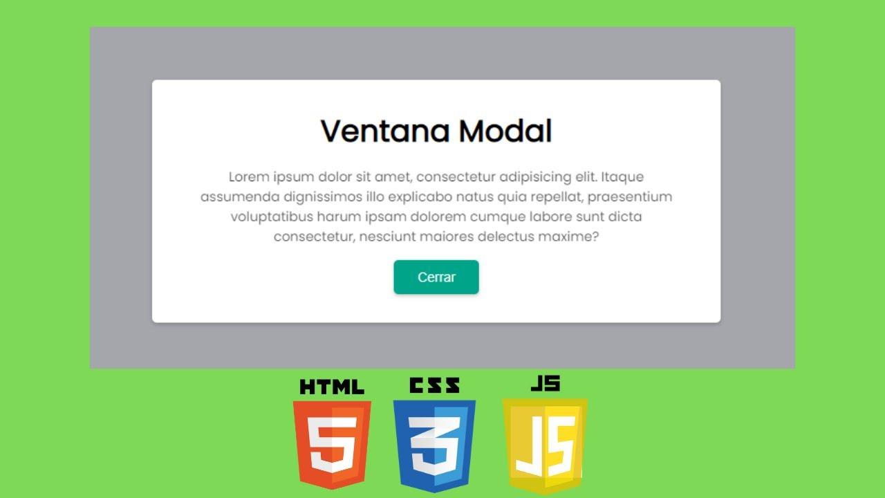 Creando Ventana Modal (Popup) con HTML/CSS y JavaScript