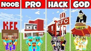 Minecraft: FAMILY FAST FOOD RESTAURANT BUILD CHALLENGE 2 - NOOB vs PRO vs HACKER vs GOD - Minecraft