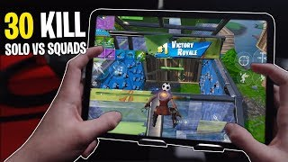 my first 30 KILL SOLO vs SQUAD WIN on Fortnite MOBILE! (insane gameplay)
