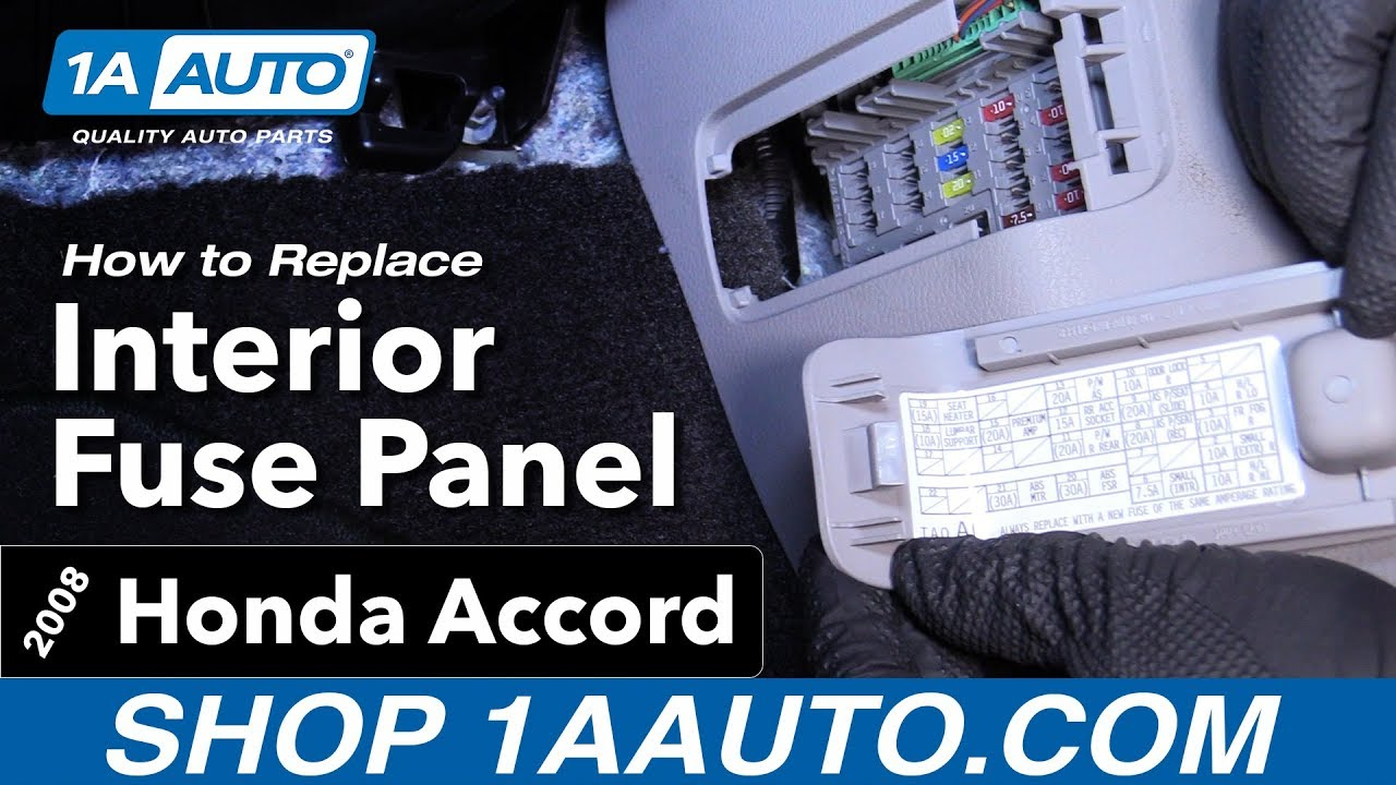 how to find interior fuse panel 08 12 honda accord youtube fuse box for honda accord 2004 fuse box for honda [ 1280 x 720 Pixel ]