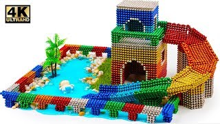 DIY How To Build Water Slide House Around Swimming Pool with Magnetic Balls (ASMR)   Magnet World 4K