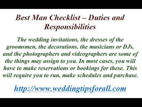 best man checklist duties and responsibilities youtube