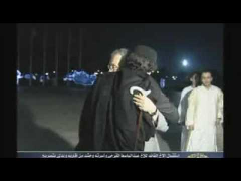 Libyan Leader Gaddafi hugs Lockerbie bomber and thanks Britain