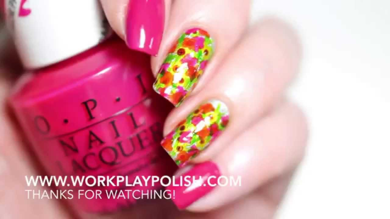 Easy Flower Garden Nail Art with OPI ColorPaints Blendable Nail ...