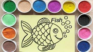 Đồ chơi trẻ em TÔ MÀU TRANH CÁT CÁ BẢY MÀU - Colors Sand painting fish toys (Chim Xinh)