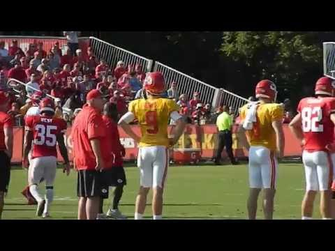 Andy Reid talking to Tyler Bray at Chiefs Camp