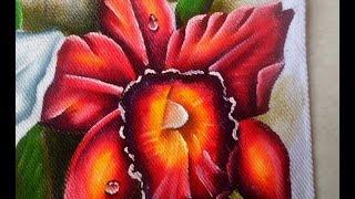 Como pintar uma Orquídea Vermelha em tecido
