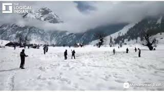 Frozen Field Turns Into Pitch! Kashmiri Youth Play Cricket In Snow Covered Gurez