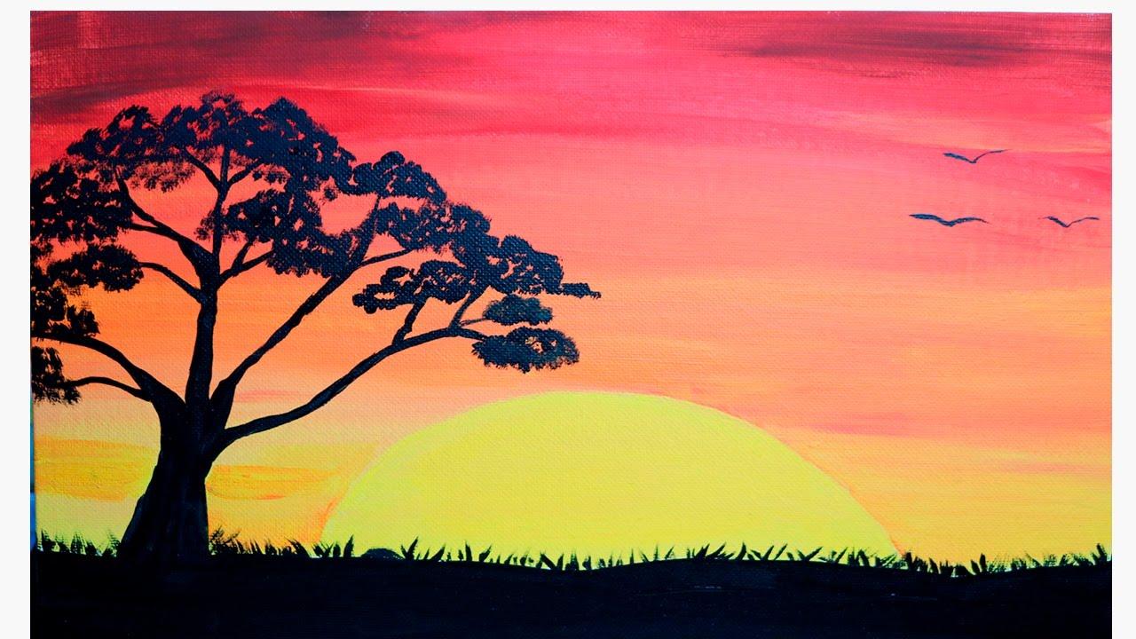 Como pintar un atardecer pintura para principiantes - Cuadros para principiantes ...
