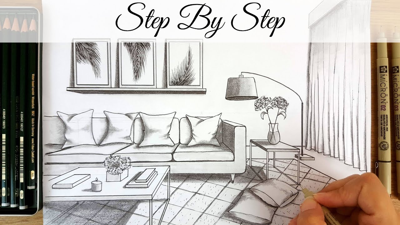 How To Draw A Modern Living Room In One Point Perspective Step By Step Youtube