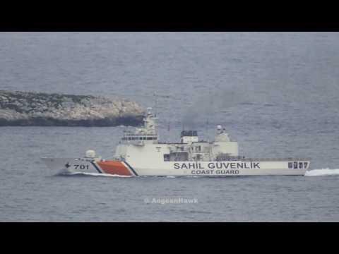 Turkish Coast Guard TCSG 701 Dost maneuvering in Chios Strait.