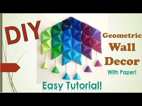 DIY GEOMETRIC WALL DECOR using paper origami pyramids | Easy Art Tutorial!