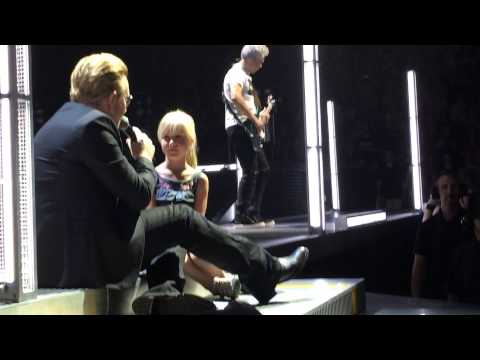 U2 City of Blinding Lights, Denver, 6-6-15, Bono brings Ella up on stage.