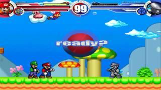 Mario & Luigi vs Metal Mario MUGEN Battle!!!