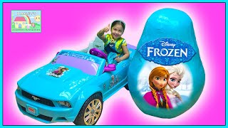 World's Biggest Frozen Egg Surprise Toys Opening with Elsa Castle & Ride On Car!