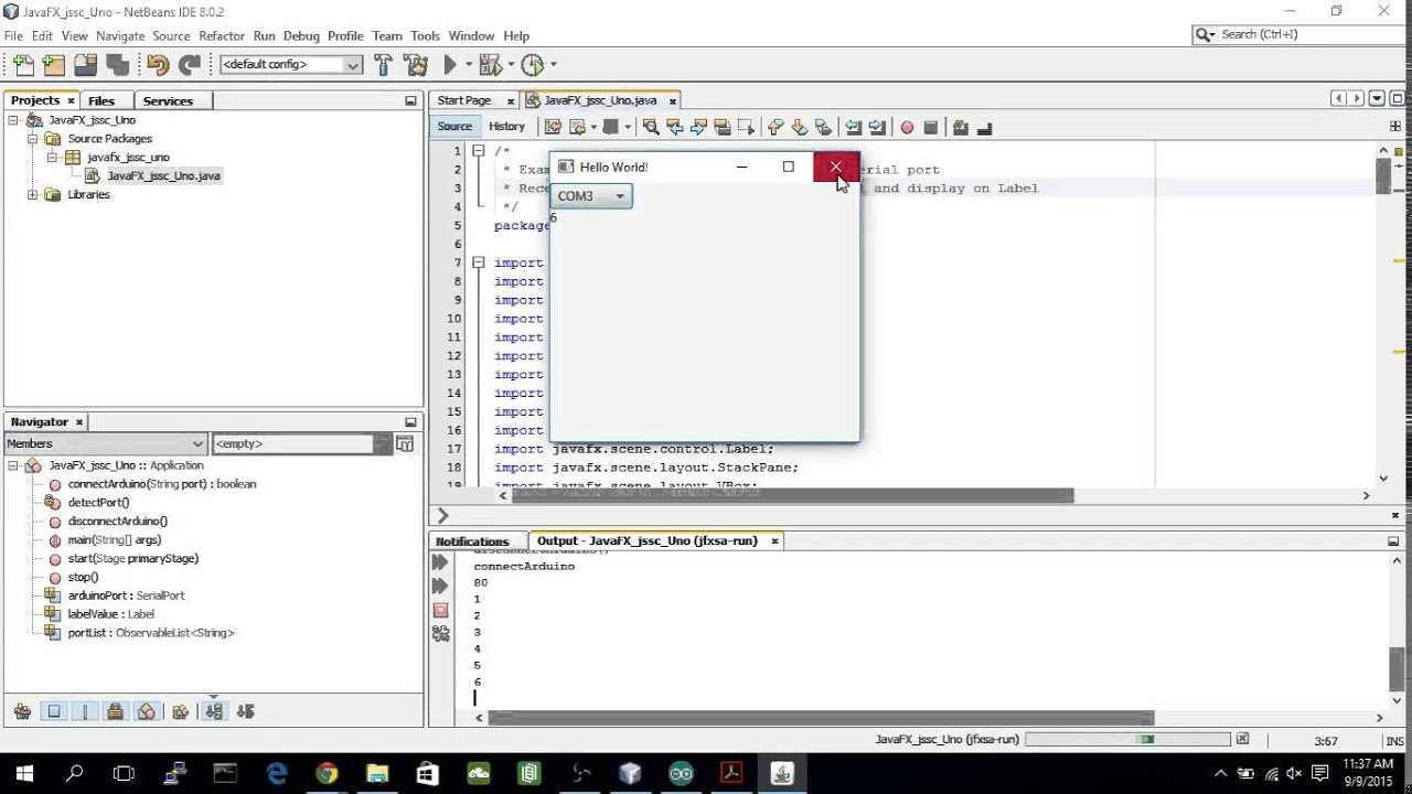 Example of using jSSC - communication between JavaFX and Arduino via  USB/Serial