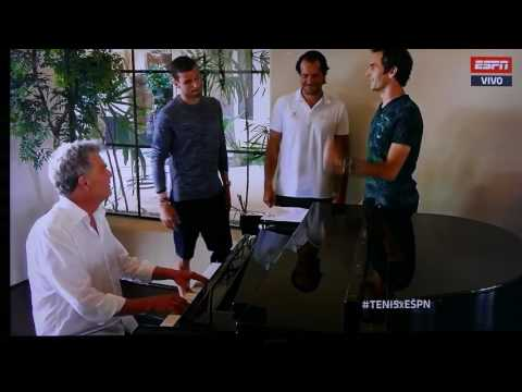 Roger Federer, Tommy Hass and Dimitrov singing