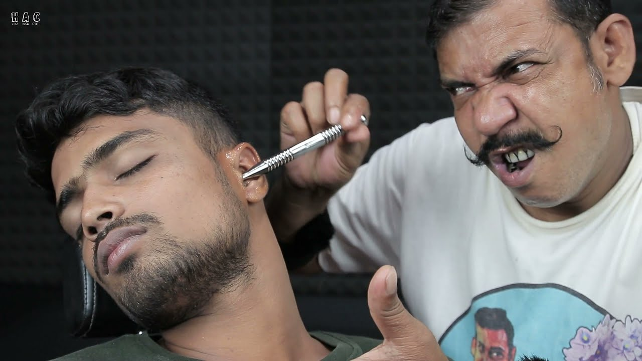 Asim Barber Itching Inside The Ear With Amazing 3d Sounds | Satisfying Ear Itching And Head Massage