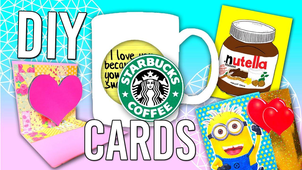 DIY CARDTARJETAfor Birthdays Friends Family Starbucks Nutella Minions Heart MakeWon