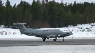 Finnish Air Force Pilatus PC-12 takeoff at Oulu EFOU
