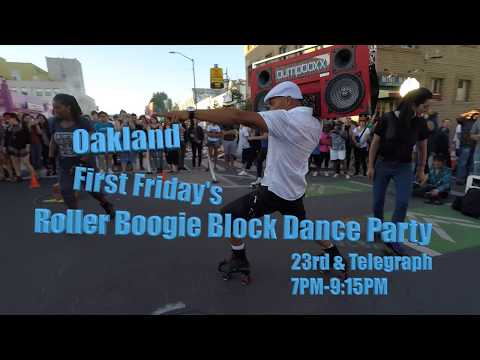 Oakland First Friday's Roller Boogie block dance party 4K