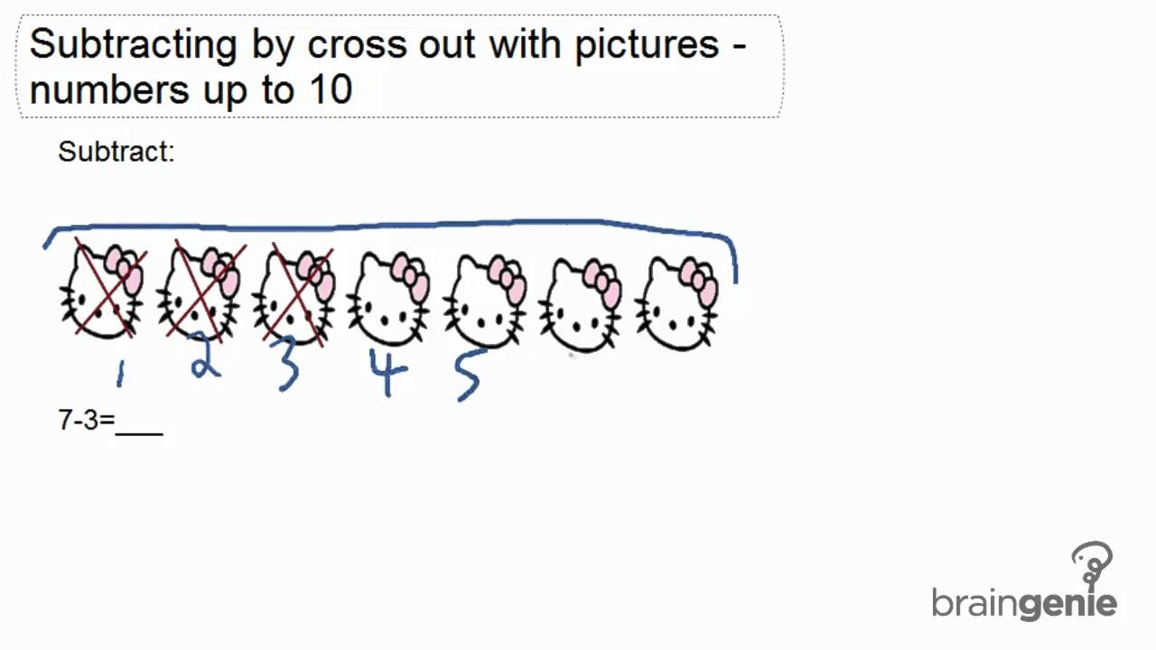 1.4.2 - Subtraction by cross out with pictures - numbers to 10 - YouTube