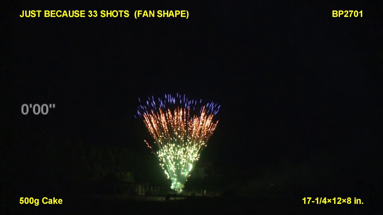 Just Because 33 Shots (Fan Shape) Brothers Pyrotechnics (Coming in 2019) | Red Apple Fireworks