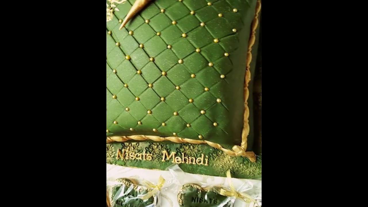 Mehndi Cushion Cake : Mehndi cushion cake and personalized cookies youtube