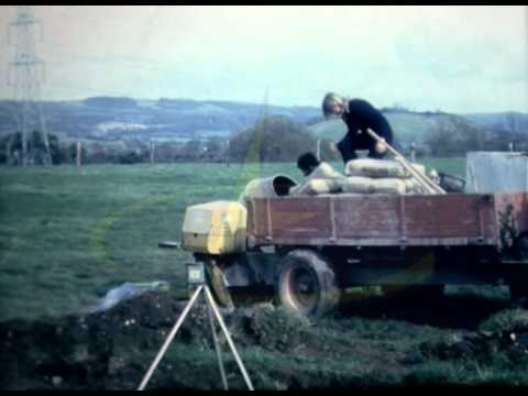 British Farmers lay concrete, horse stable 1970s